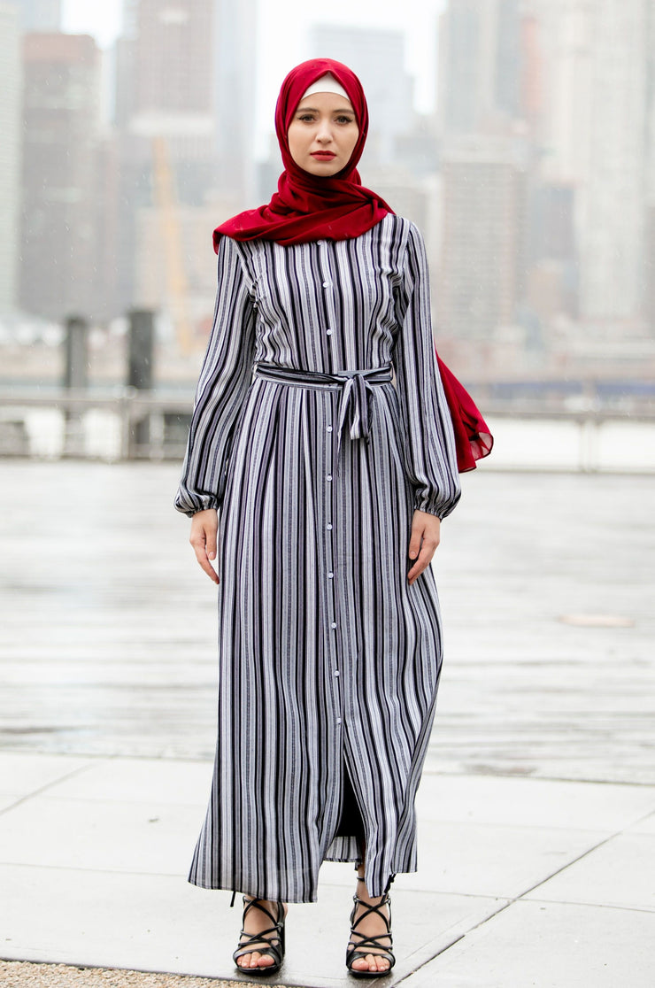 Black and White Striped Button Down Maxi Dress-CLEARANCE