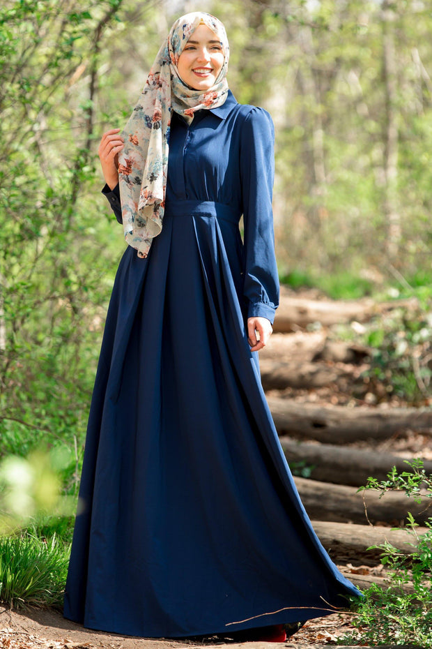 Navy Blue Lattice Abaya Maxi Dress-Clearance - Abaya, Hijabs, Jilbabs, on sale now at UrbanModesty.com