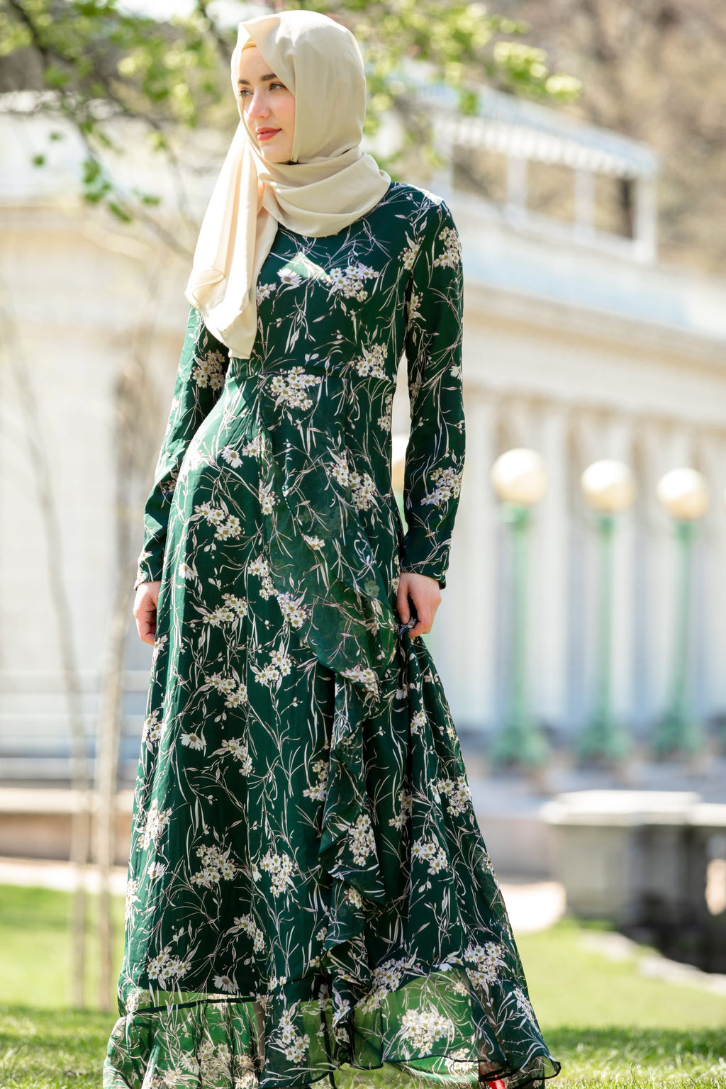 Green and White Ruffle Floral Maxi Dress With Sleeves - Abaya, Hijabs, Jilbabs, on sale now at UrbanModesty.com