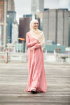 Blush Me Away Chiffon Maxi Dress With Sleeves NEW