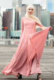 Blush Me Away Chiffon Maxi Dress With Sleeves-CLEARANCE