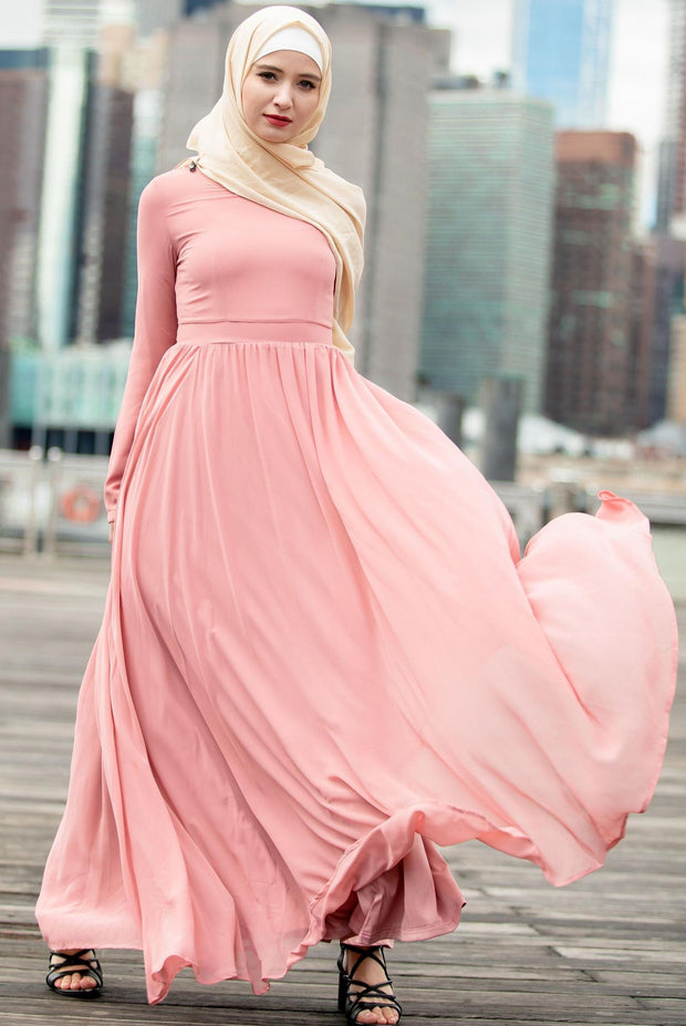 Blush Me Away Chiffon Maxi Dress With Sleeves-PREORDER