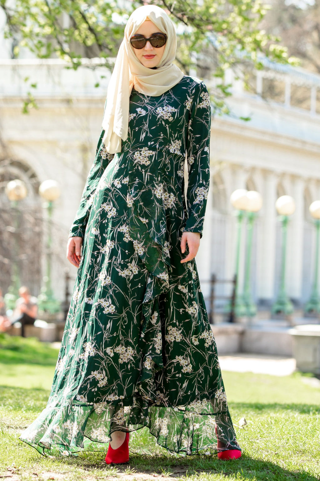Green and White Ruffle Floral Maxi Dress With Sleeves-Maxi Dresses-Urban Modesty Inc.