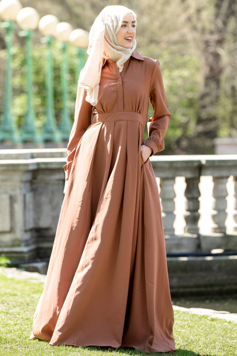 Rusty Brown Lattice Abaya Maxi Dress-CLEARANCE - Abaya, Hijabs, Jilbabs, on sale now at UrbanModesty.com