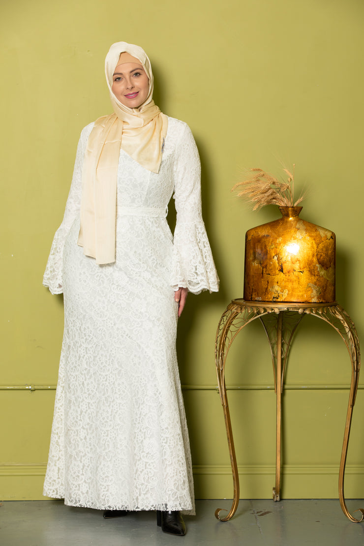 Farah White Lace Bell Sleeves Maxi Gown