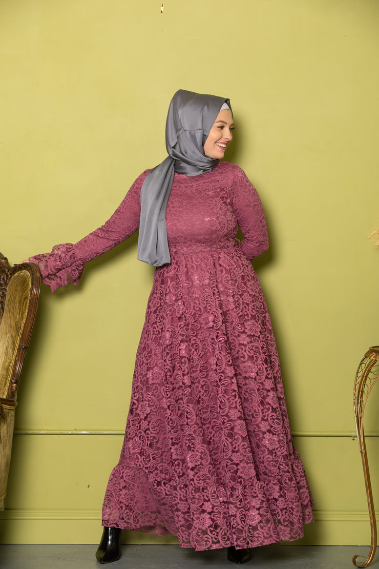 Plum Lace Bell Sleeves Maxi Gown