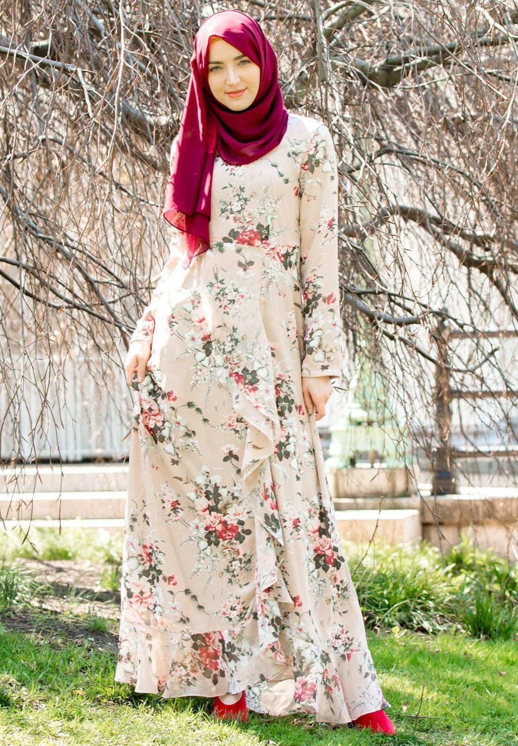 Blush Pink Ruffle Floral Maxi Dress With Sleeves-PREORDER - Abaya, Hijabs, Jilbabs, on sale now at UrbanModesty.com