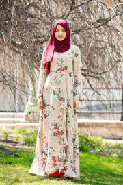 Blush Pink Ruffle Floral Maxi Dress With Sleeves-CLEARANCE - Abaya, Hijabs, Jilbabs, on sale now at UrbanModesty.com