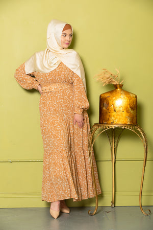Cream Floral Drawstring Maxi Dress With Sleeves-Clearance - Abaya, Hijabs, Jilbabs, on sale now at UrbanModesty.com
