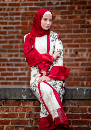 Red Floral Embroidery Ruffle Sleeve Open Front Abaya