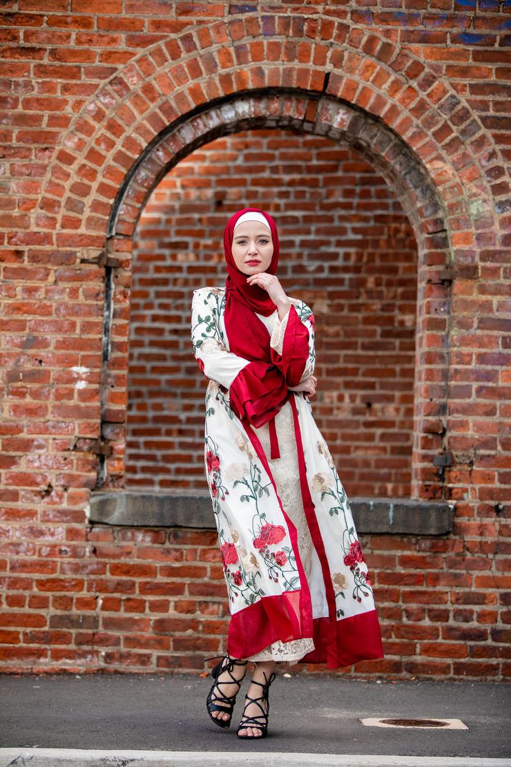 Red Floral Embroidery Ruffle Sleeve Open Front Abaya-Clearance