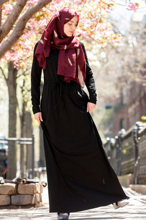 Black Drawstring Cotton Long Sleeve Maxi Dress - Abaya, Hijabs, Jilbabs, on sale now at UrbanModesty.com