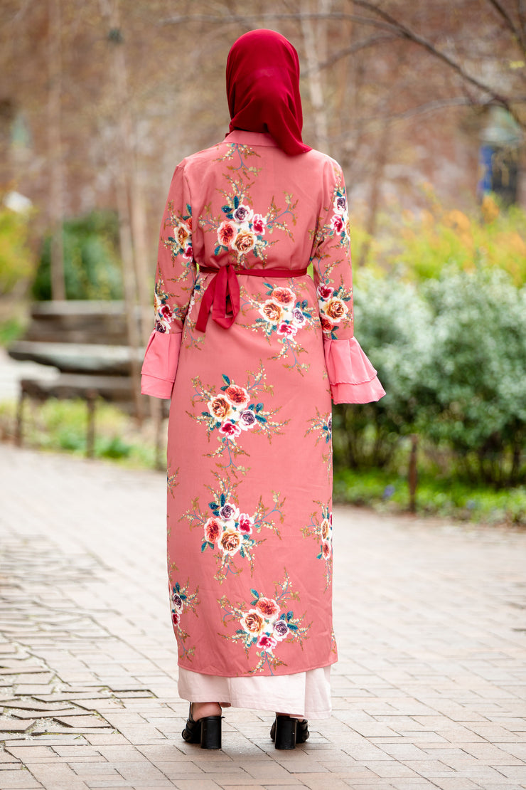 Pink Floral Ruffle Sleeve Open Front Abaya-CLEARANCE