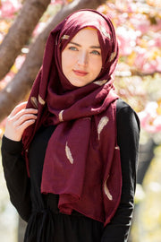 Maroon Gold Feather Tassel Hijab - Abaya, Hijabs, Jilbabs, on sale now at UrbanModesty.com