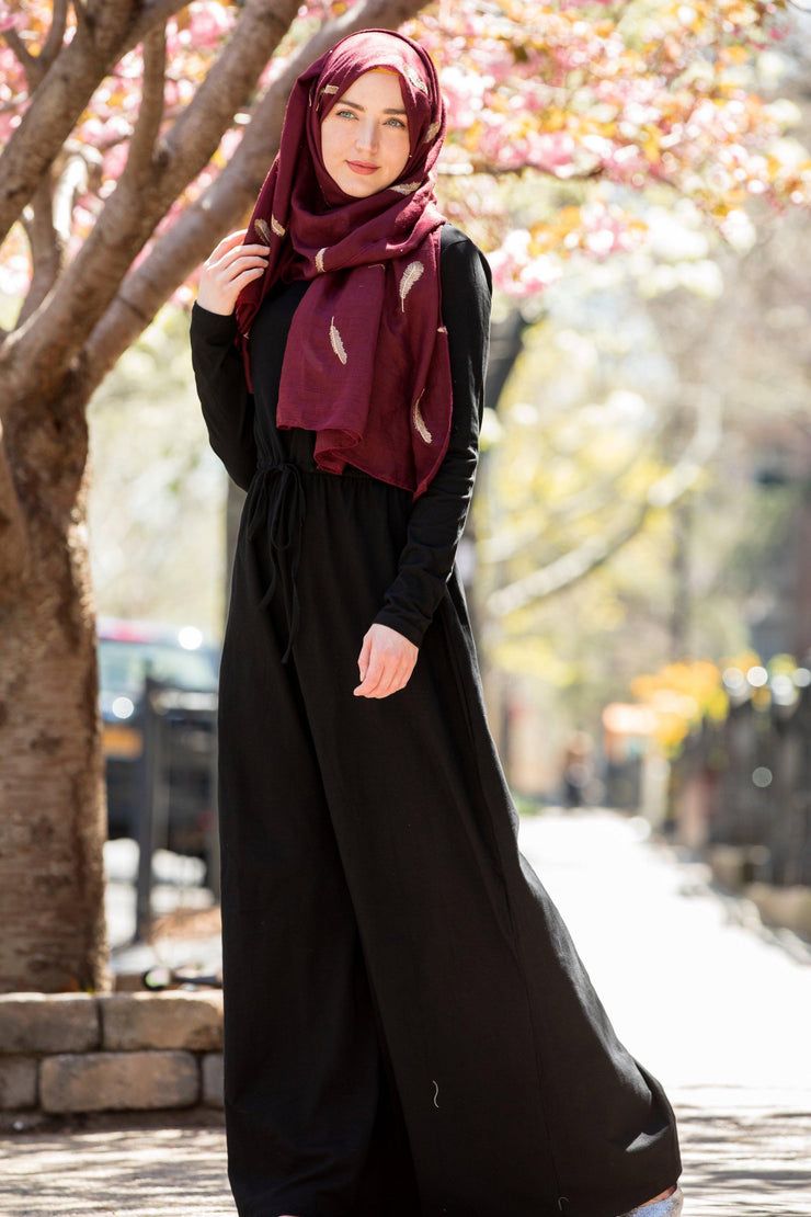 Black Drawstring Cotton Long Sleeve Maxi Dress-Clearance - Abaya, Hijabs, Jilbabs, on sale now at UrbanModesty.com