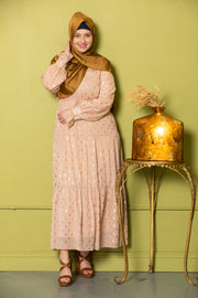 Pink Diamond Shimmer Tiered Drawstring Maxi Dress