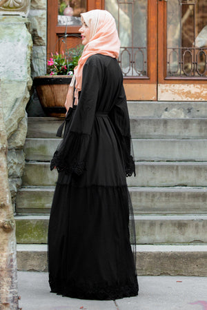 Black Lace Ruffle Open Front Abaya - Abaya, Hijabs, Jilbabs, on sale now at UrbanModesty.com