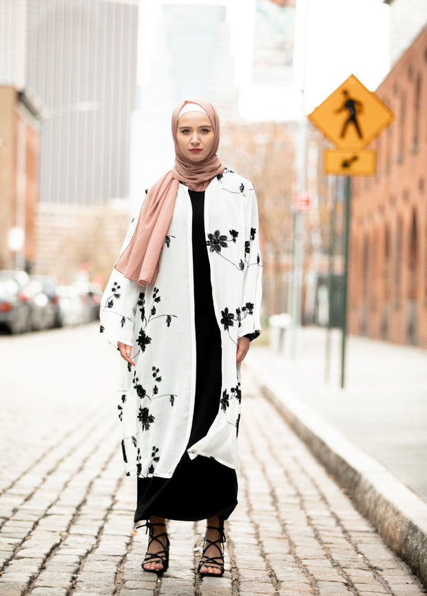 White and Black Embroidered Sheer Open Front Abaya