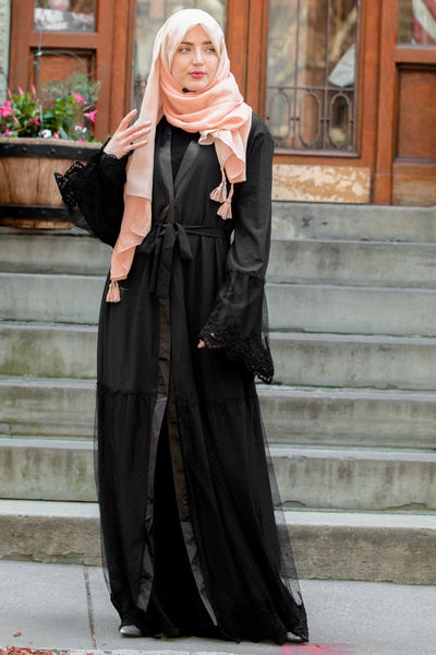 Black Lace Ruffle Open Front Abaya-CLEARANCE