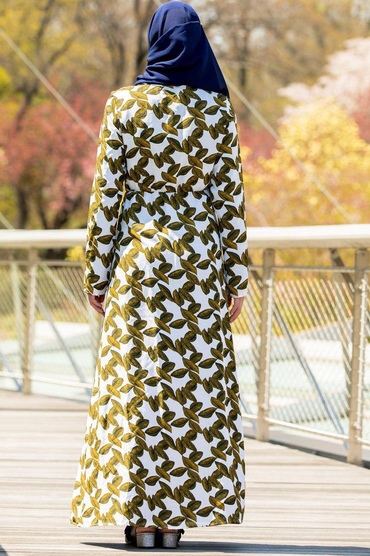 Hello Yellow Leaf Non-Sheer Maxi Cardigan-Clearance - Abaya, Hijabs, Jilbabs, on sale now at UrbanModesty.com