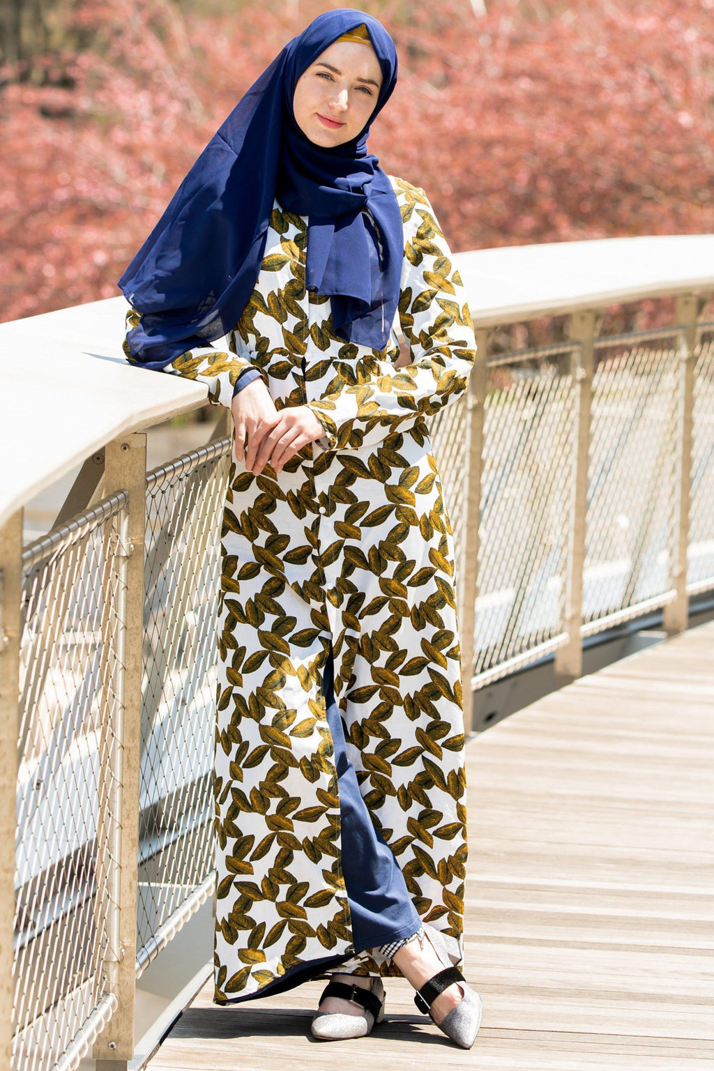 Hello Yellow Leaf Non-Sheer Maxi Cardigan - Abaya, Hijabs, Jilbabs, on sale now at UrbanModesty.com