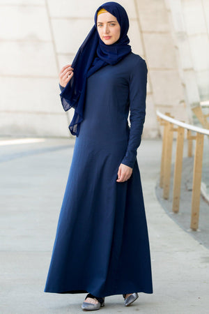 Navy Blue Cotton Long Sleeve Maxi Dress-CLEARANCE - Abaya, Hijabs, Jilbabs, on sale now at UrbanModesty.com