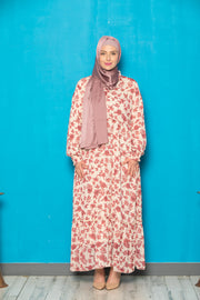 Taupe and Red Open Front Abaya-CLEARANCE - Abaya, Hijabs, Jilbabs, on sale now at UrbanModesty.com
