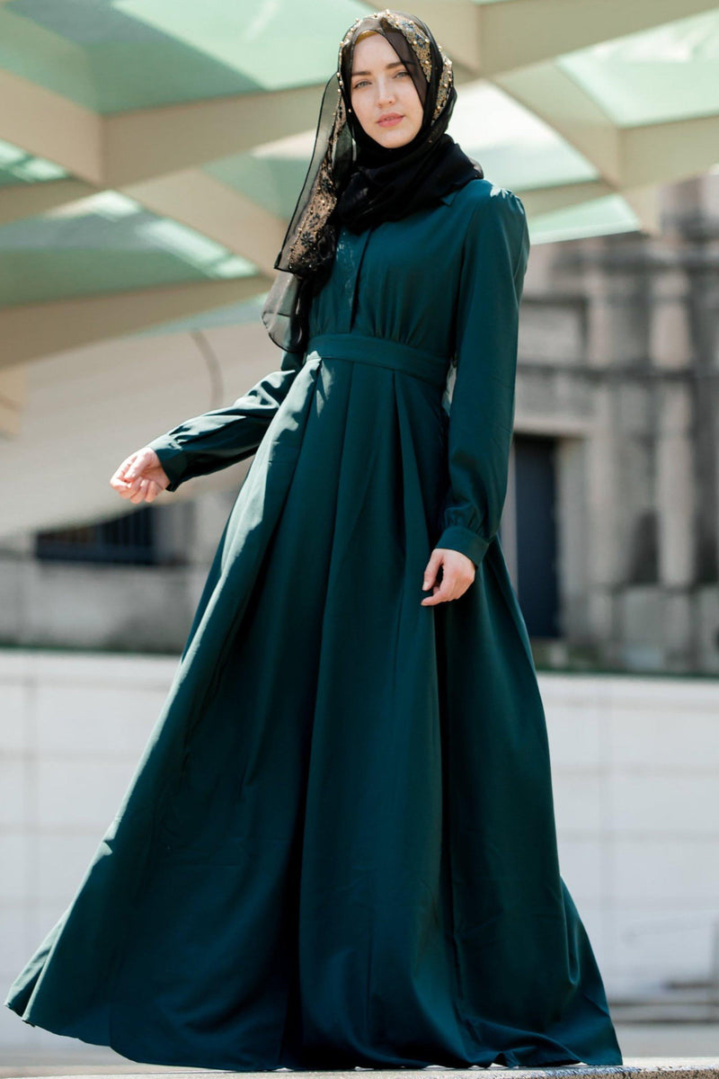 Teal Lattice Abaya Maxi Dress-PREORDER - Abaya, Hijabs, Jilbabs, on sale now at UrbanModesty.com