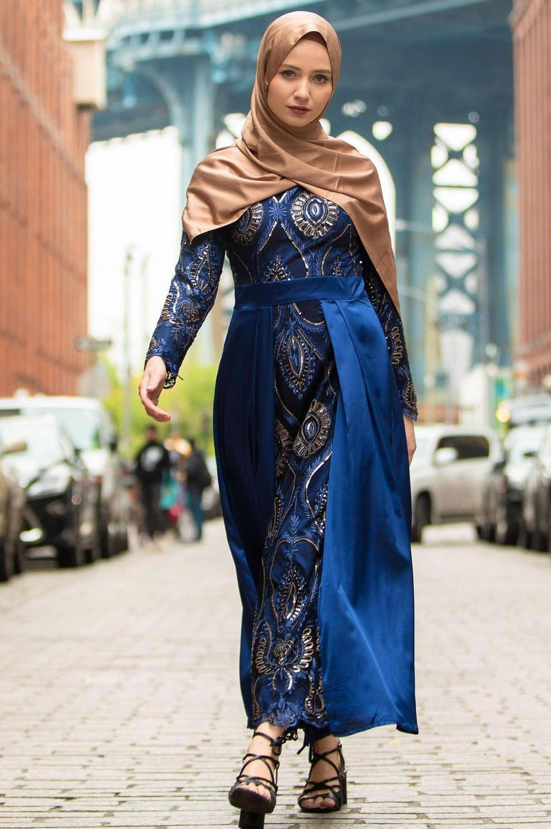 Navy Blue Beaded Long Sleeve Evening Gown