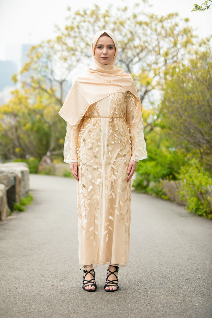 Beige Sequin Sheer Open Front Abaya-CLEARANCE