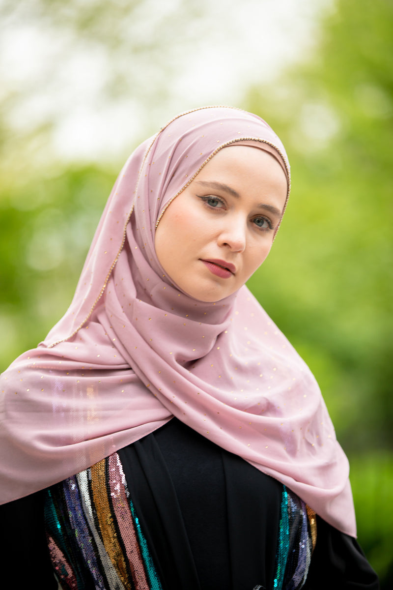 Blush Pink Beaded Chiffon Hijab