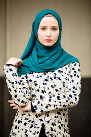 Teal Chevron Pleated Chiffon Hijab