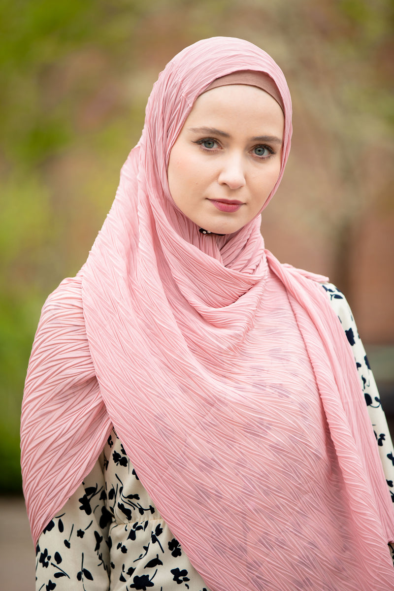 Pink Chevron Pleated Chiffon Hijab