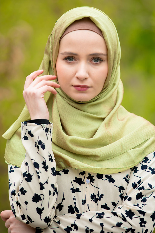 Lime Green Shimmer Hijab Head Scarf