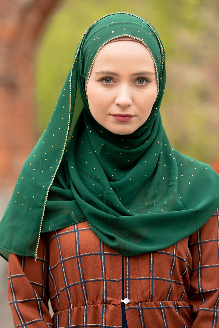 Green Envy Beaded Chiffon Hijab