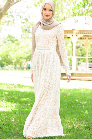 Taupe Lattice Abaya Maxi Dress