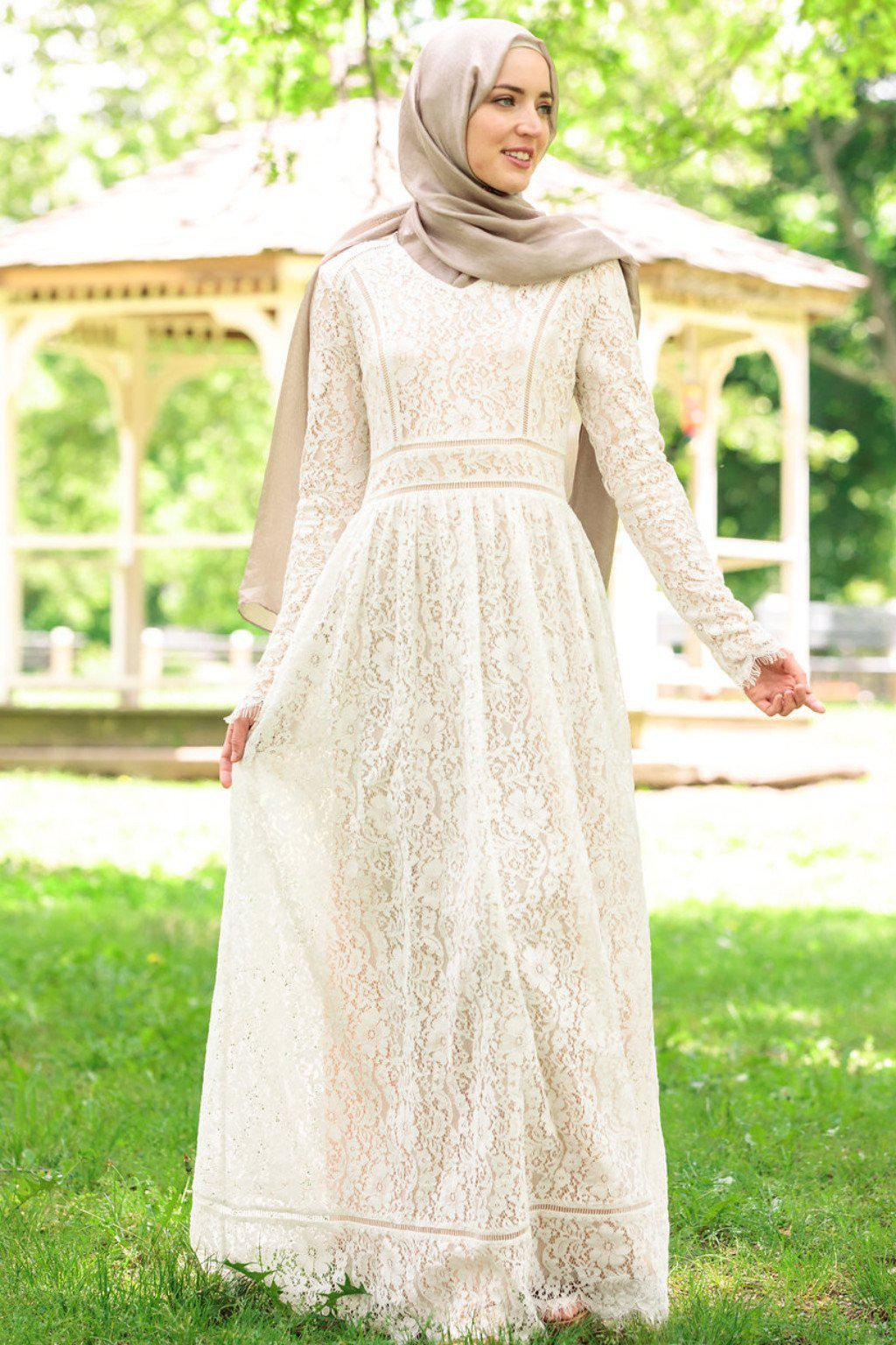 Zahra Lace Long Sleeve Evening Gown – Urban Modesty