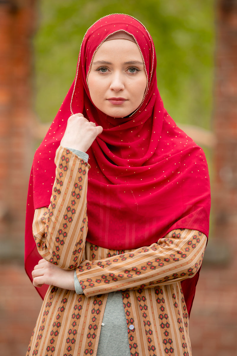 Red Beaded Chiffon Hijab