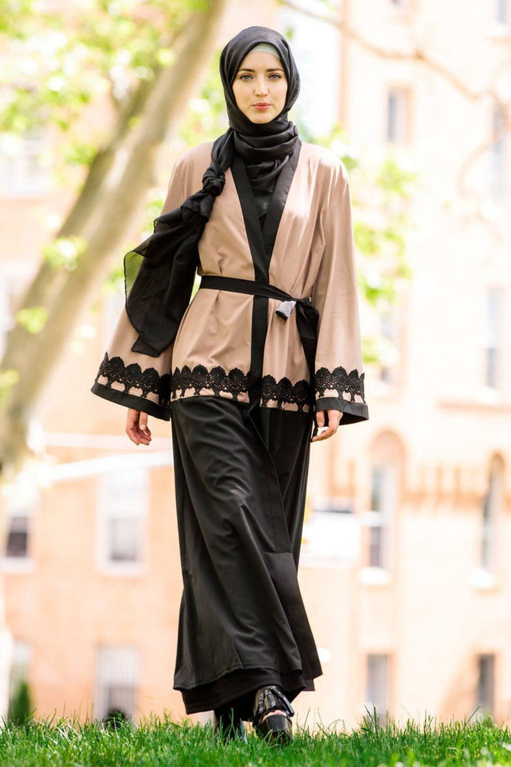 Blush Two-Tone Lace Open Abaya- CLEARANCE - Abaya, Hijabs, Jilbabs, on sale now at UrbanModesty.com