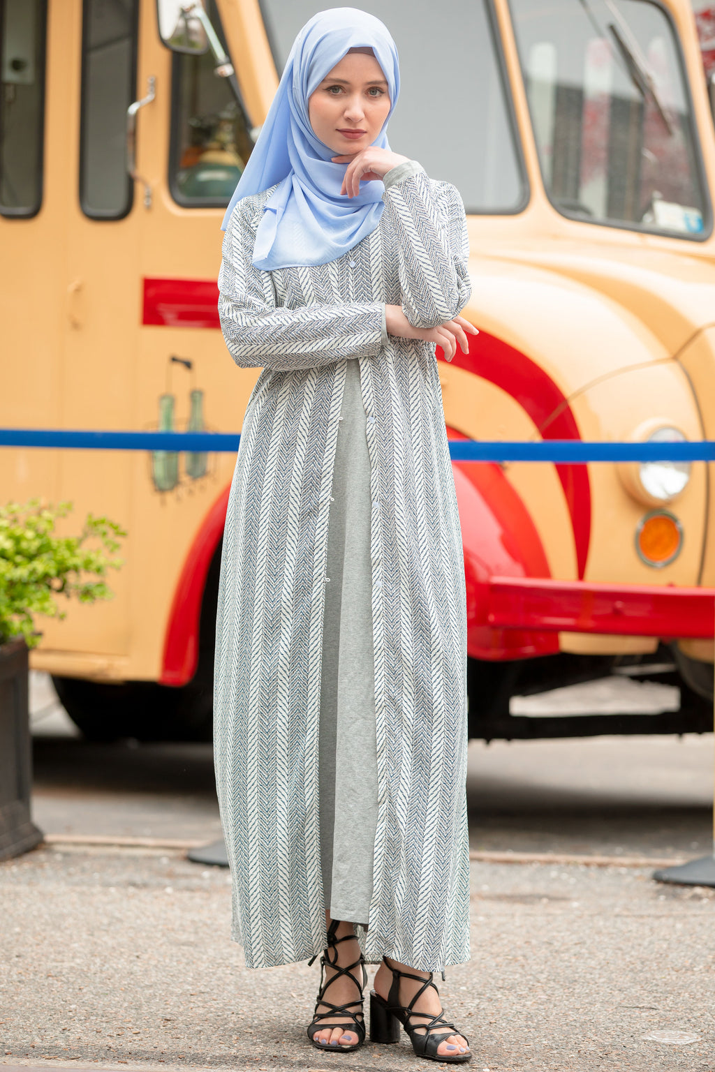 Heather Gray Chevron Non-Sheer Maxi Cardigan