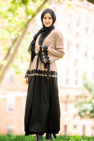 Black and Gold Open Abaya - CLEARANCE