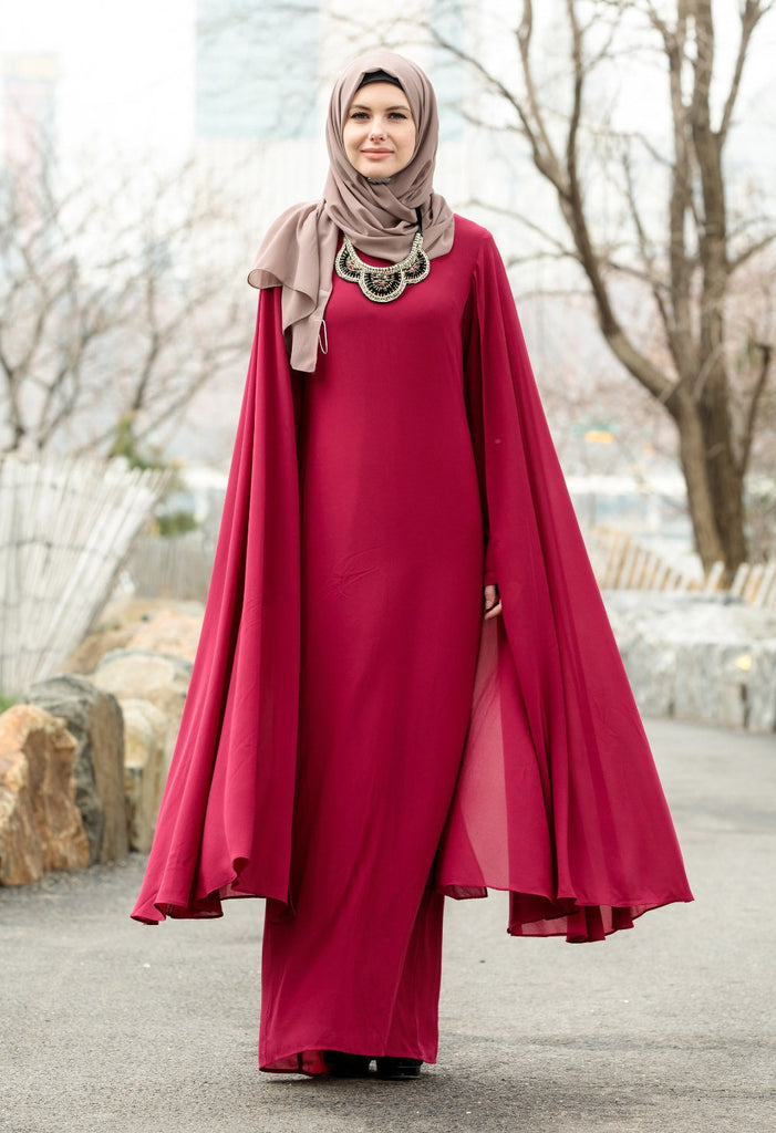 Mulberry Cape Maxi Dress With Sleeves - CLEARANCE-Maxi Dresses-Urban Modesty Inc.