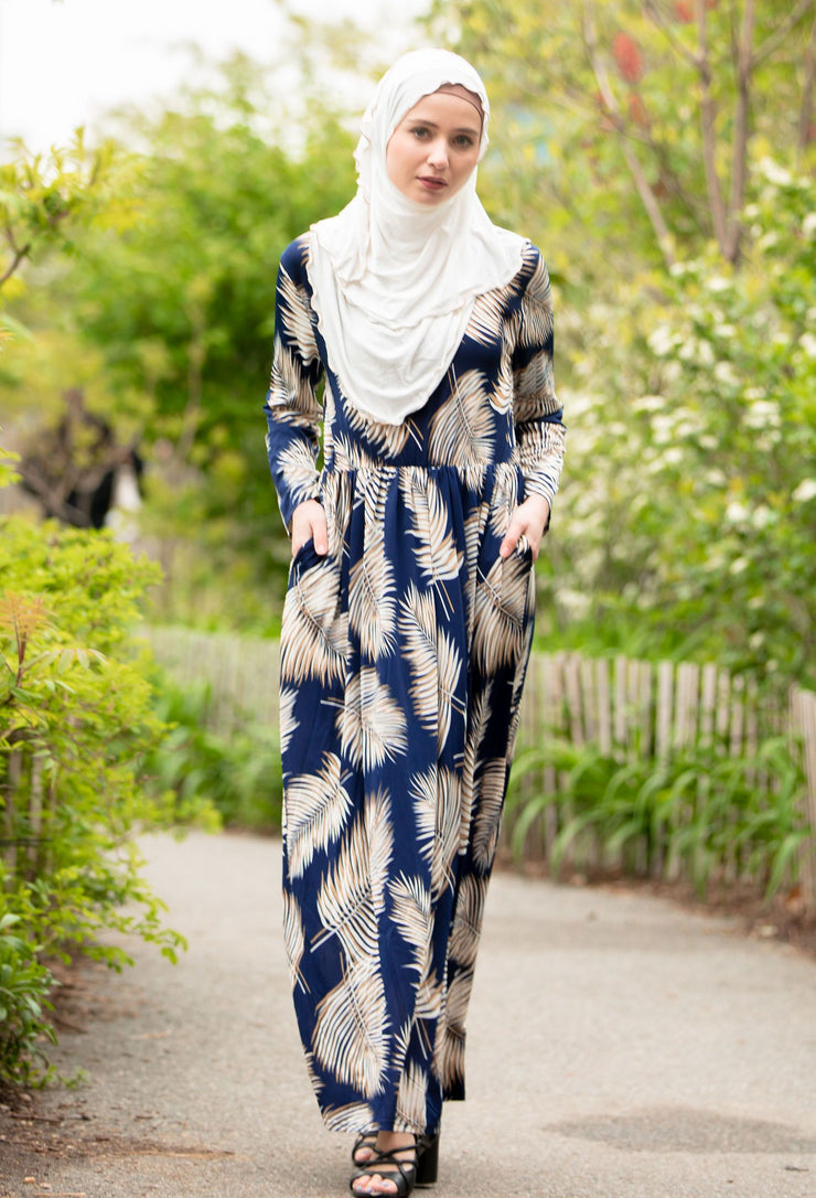 Palm Leaf Jersey Long Sleeve Maxi Dress-Clearance