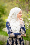 Cream Jersey Solid With Beaded Trim Hijab