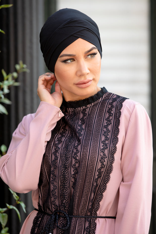 Black Criss-Cross Tube Hijab UnderScarf
