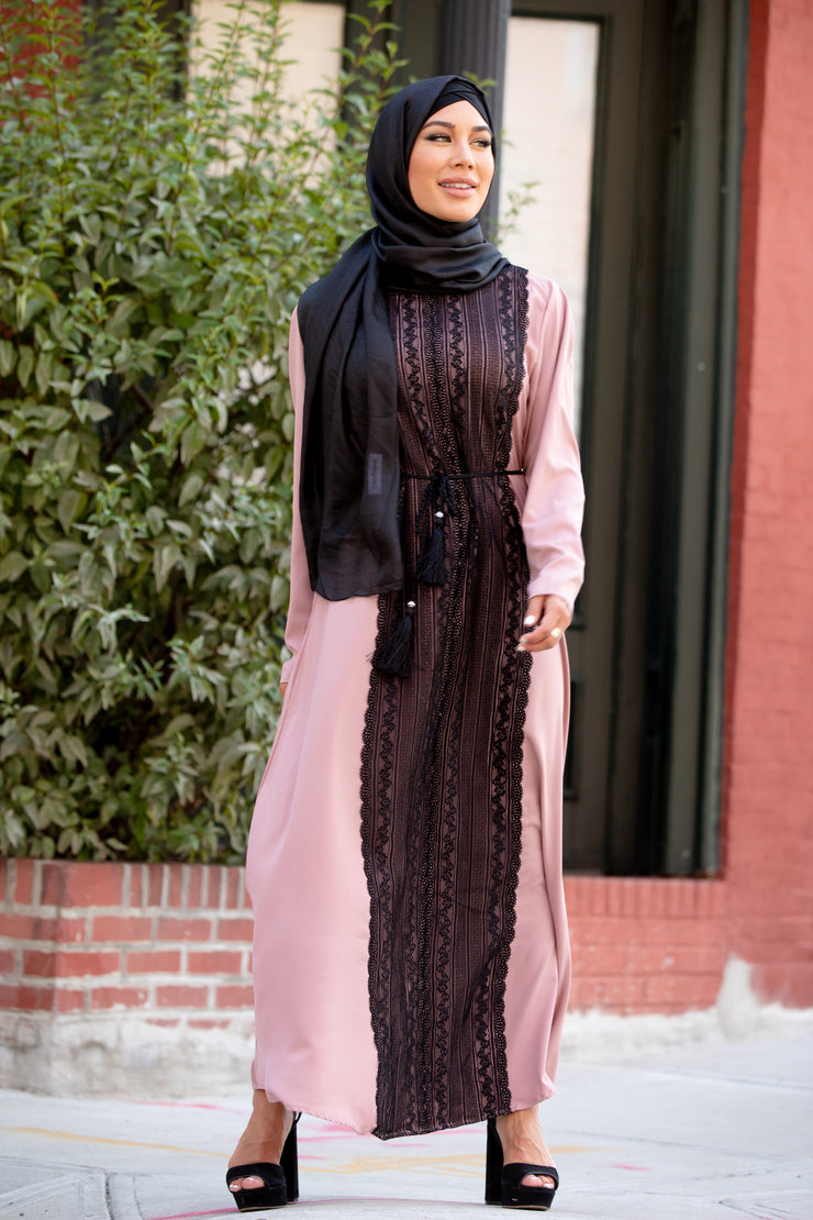 Dusty Pink Lace Paneling Abaya Maxi Dress