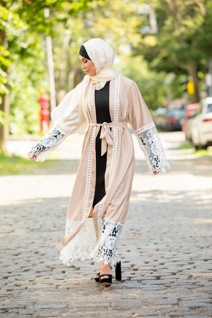 Beige and White Lace Open Front Abaya