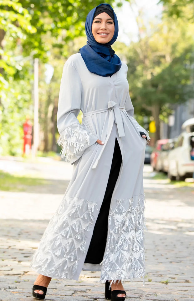 Silver Sequin Fringe Open Front Abaya-Clearance