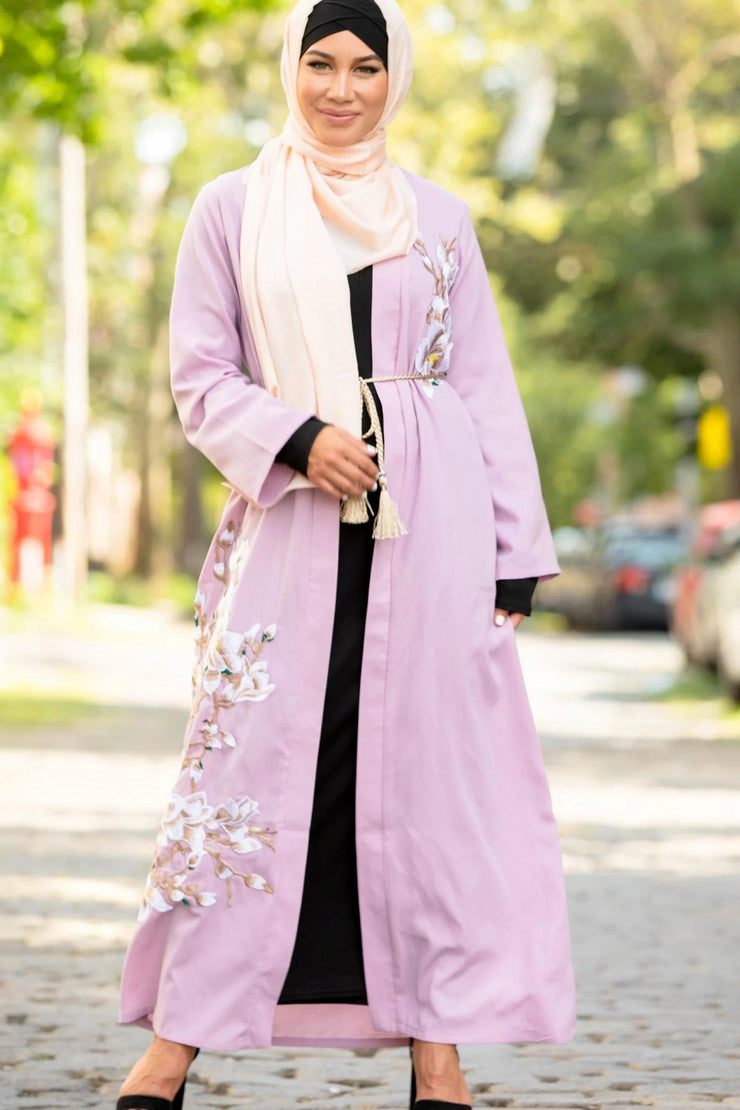 Lavender Floral Open Front Abaya-Clearance