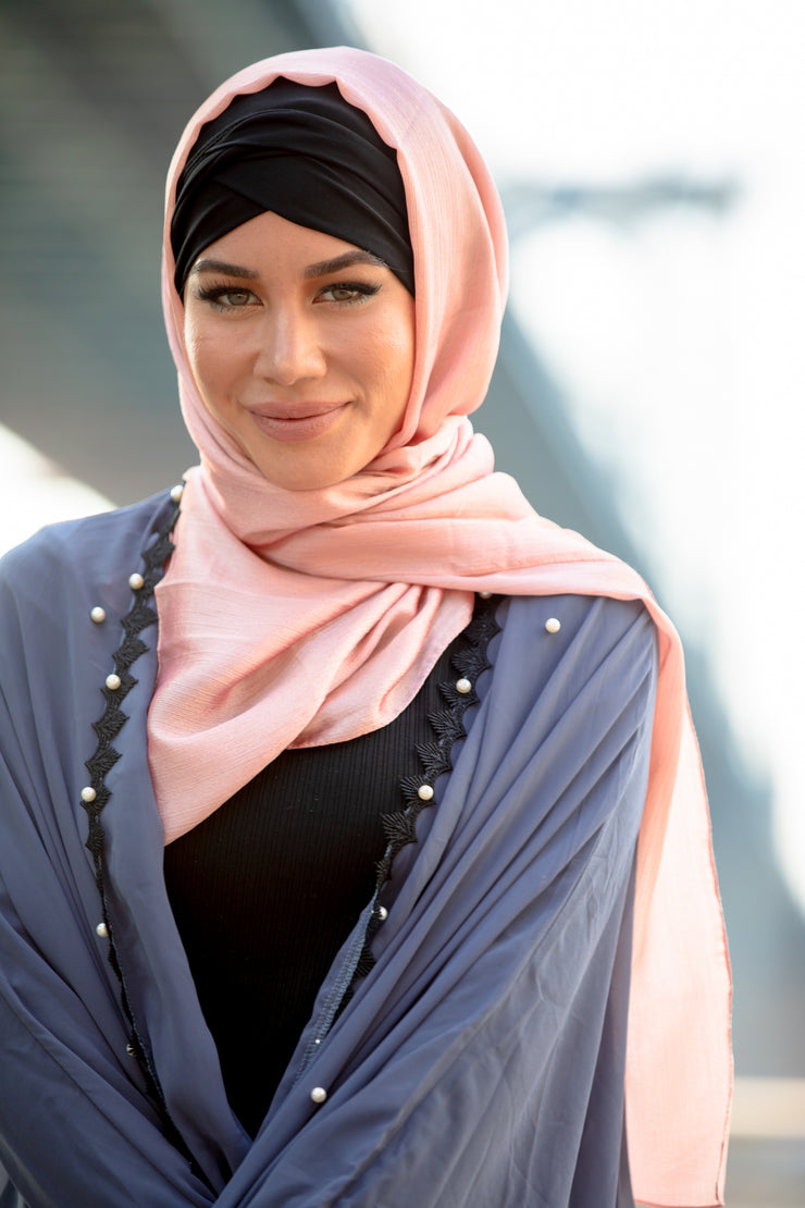 Salmon Pink Shimmer Hijab Head Scarf